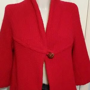 🆕Red FREE PEOPLE Cropped Swing Sweater Jacket